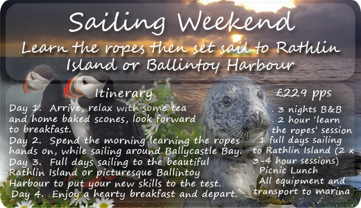 Sailing Weekend 3 night B&B offer